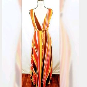 Forever 21 Striped Maxi W Halter Top Fully Lined M